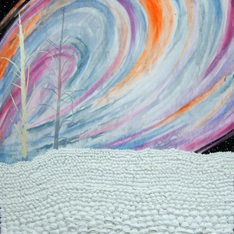 Aurora, 30 x 30, 2010, acrylic and silicone caulking on wood.