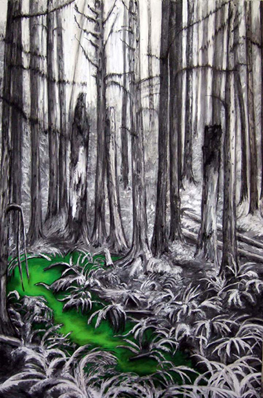 Fern Hill, 48 x 60, 2010, acrylic and charcoal on wood.