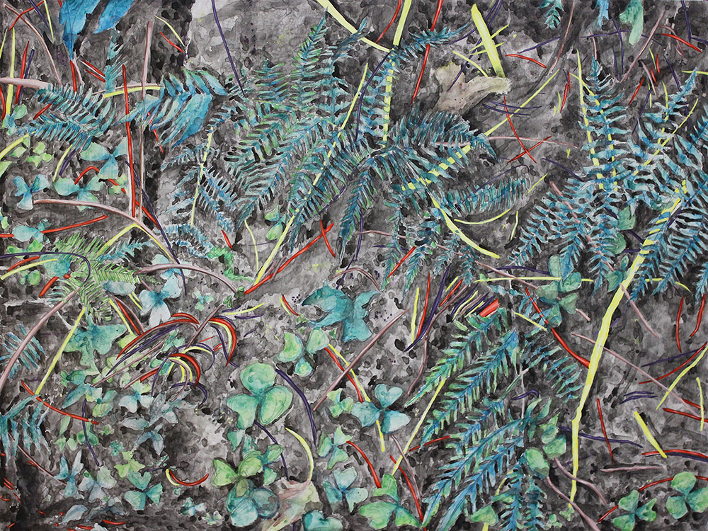 Among the Forest Floor, 48 x 36, 2012, watercolor on wood.<br><a href=&#039;http://www.saatchiart.com/art/Painting-Among-the-Forest-Floor/206881/1500714/view&#039; target=&#039;_blank&#039;>Purchase Artwork</a>