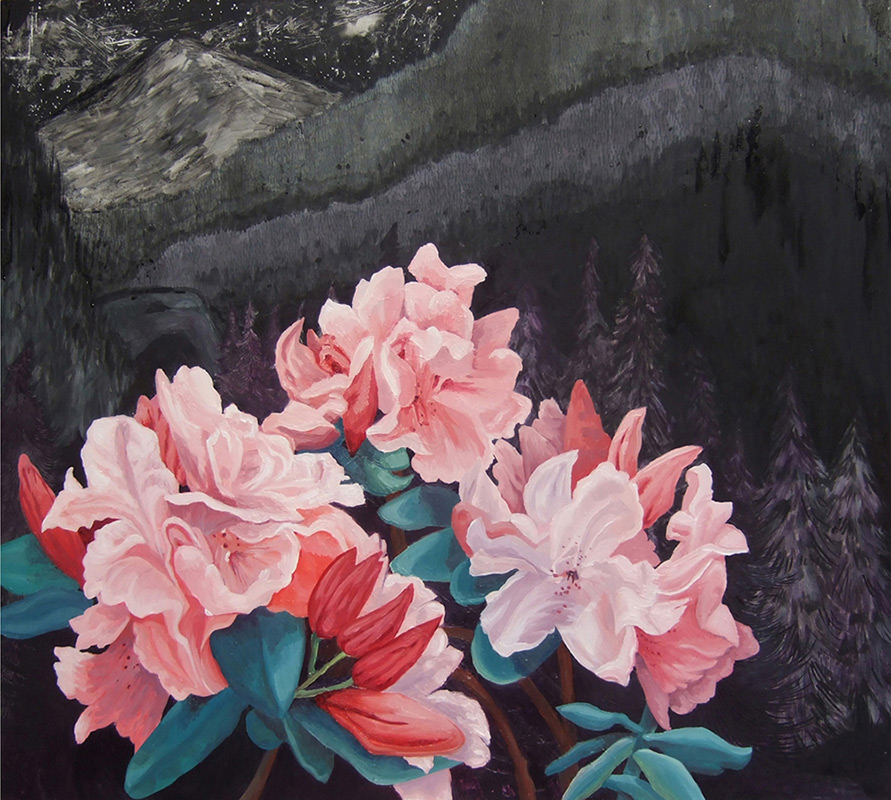 Forest Park Rhodies, 30 x 36, 2013, oil on wood. <br><a href=&#039;http://www.saatchiart.com/art/Painting-Forest-Park-Rhodies/206881/1935990/view&#039; target=&#039;_blank&#039;>Purchase Artwork</a>