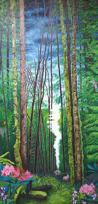 Thoreau&#039;s Cabin, 48 x 96, 2013, acrylic on wood.<br><a href=&#039;http://www.saatchiart.com/art/Painting-Thoreau-s-Cabin/206881/2094784/view&#039; target=&#039;_blank&#039;>Purchase Artwork</a>