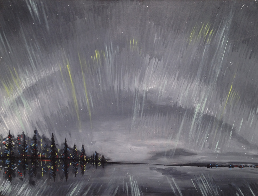 Northern Lights No. 11, 30 x 40, 2014-2015, oil on canvas.<br><a href=&#039;http://www.saatchiart.com/art/Painting-Northern-Lights-No-11/206881/2555933/view&#039; target=&#039;_blank&#039;>Purchase Artwork</a>