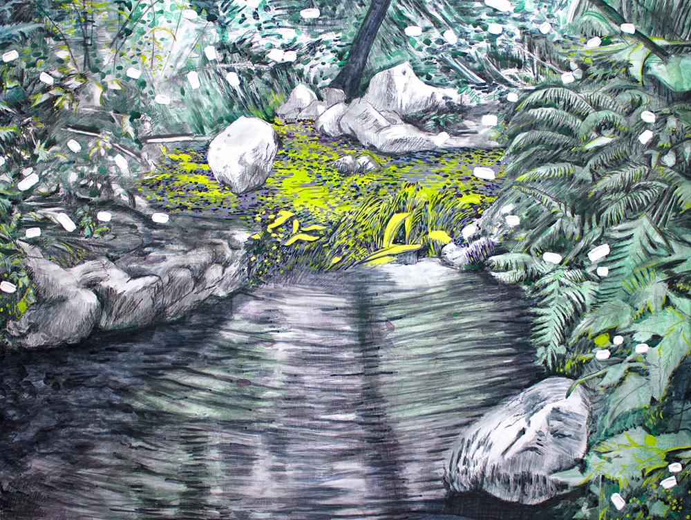 Autumn Creek, 48 x 36, 2014, Acrylic on wood.<br><a href=&#039;http://www.saatchiart.com/art/Painting-Autumn-Creek/206881/2056712/view&#039; target=&#039;_blank&#039;>Purchase Artwork</a>