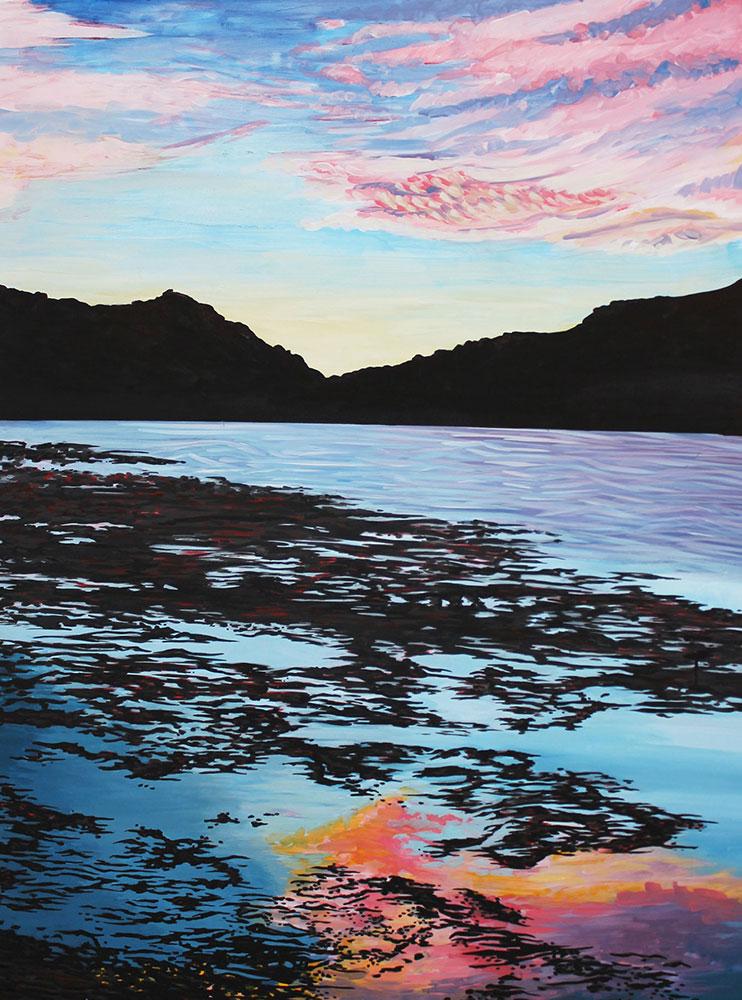 Paulina Lake, 36 x 48, 2014, Flashe on wood. <br><a href=&#039;http://www.saatchiart.com/art/Painting-Paulina-Lake/206881/1974029/view&#039; target=&#039;_blank&#039;>Purchase Artwork</a>