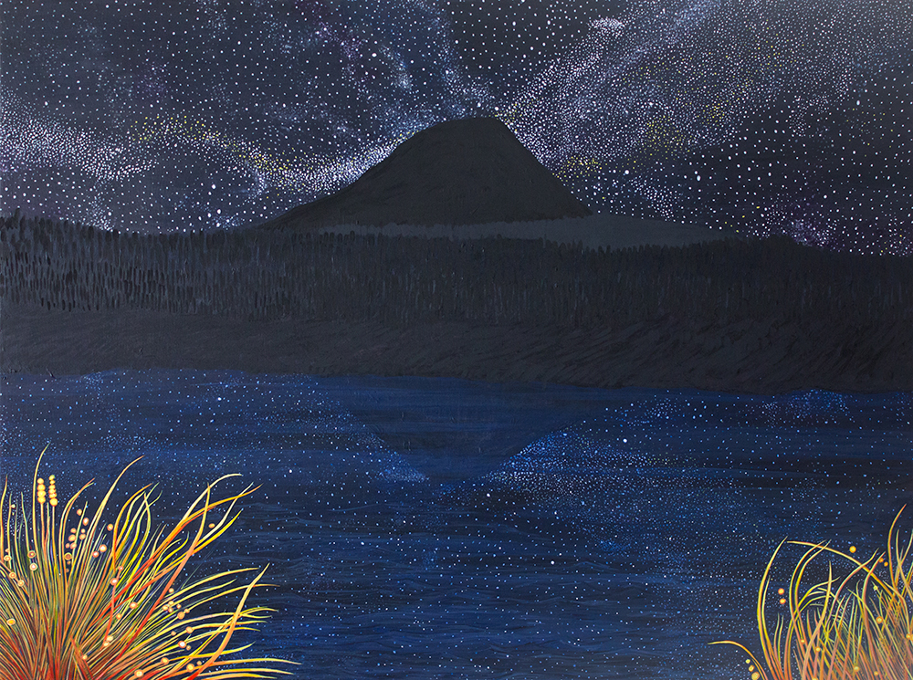 Trout Lake and the Big Dipper, 36 x 48, 2014, Acrylic on wood. <br><a href=&#039;http://www.saatchiart.com/art/Painting-Trout-Lake-and-the-Big-Dipper/206881/1986757/view&#039; target=&#039;_blank&#039;>Purchase Artwork</a>