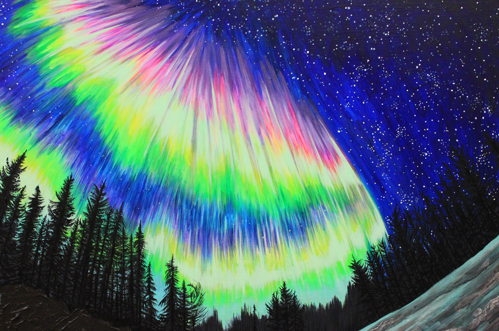 Northern Lights No. 2, 24 x 36, 2014, Acrylic on wood. <br><a href=&#039;http://www.saatchiart.com/art/Painting-Northern-Lights-no-2/206881/2253716/view&#039; target=&#039;_blank&#039;>Purchase Artwork</a>