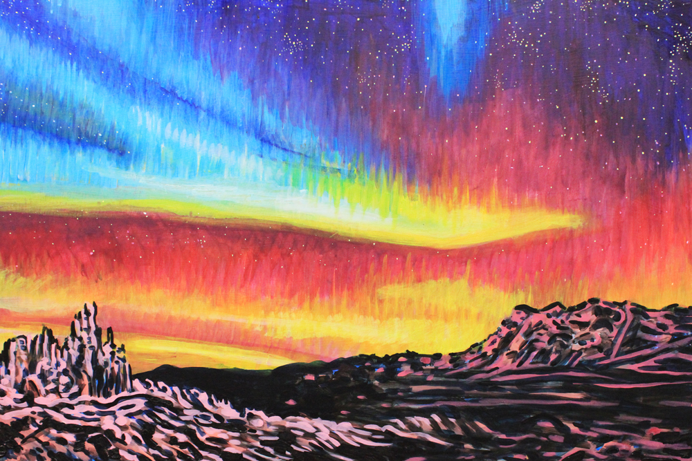 Northern Lights No. 5, 24 x 36, 2014, Acrylic on wood. <br><a href=&#039;http://www.saatchiart.com/art/Painting-Northern-Lights-no-5/206881/2273041/view&#039; target=&#039;_blank&#039;>Purchase Artwork</a>