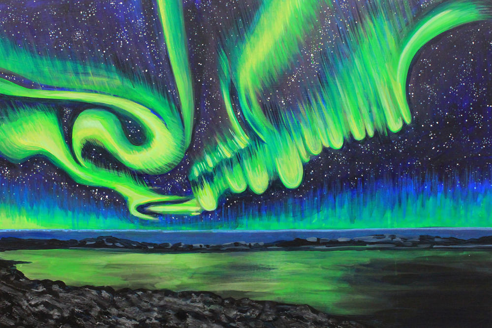 Northern Lights No. 7, 24 x 36, 2014, Acrylic on wood. <br><a href=&#039;http://www.saatchiart.com/art/Painting-Northern-Lights-no-7/206881/2261495/view&#039; target=&#039;_blank&#039;>Purchase Artwork</a>