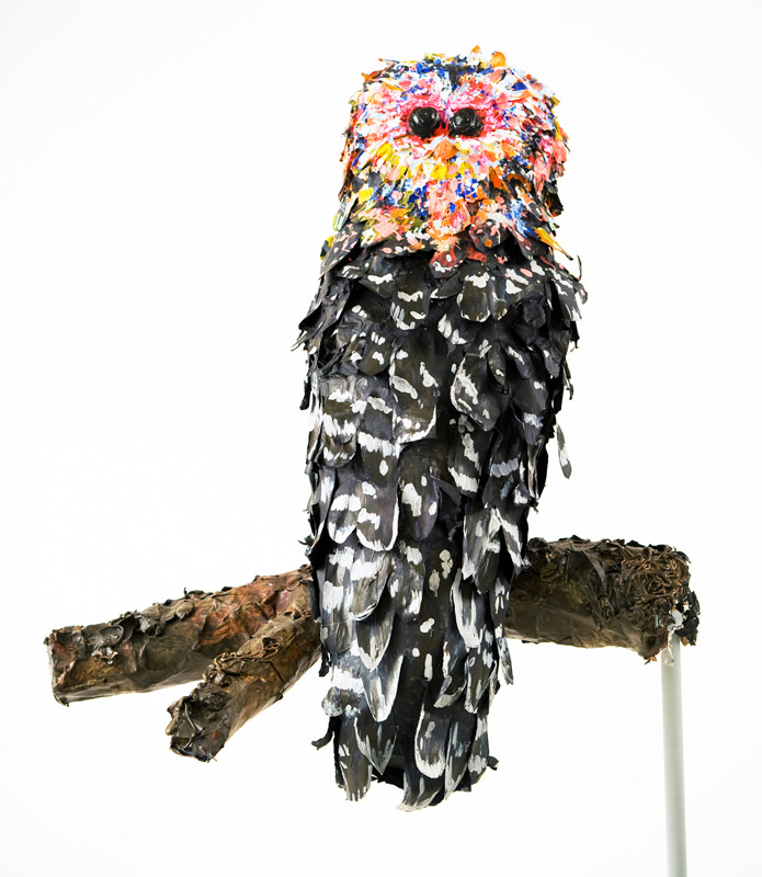 Owl, 24inx28in, 2009, Paper mache and silicone
