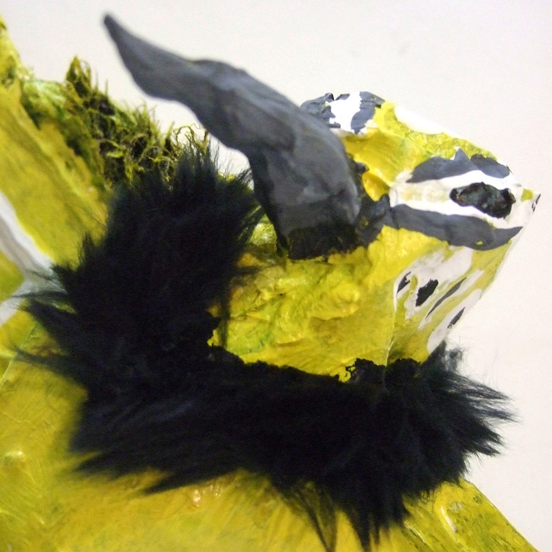 Western Meadowlark (detail), 12inx8in, 2012, Paper mache and silicone