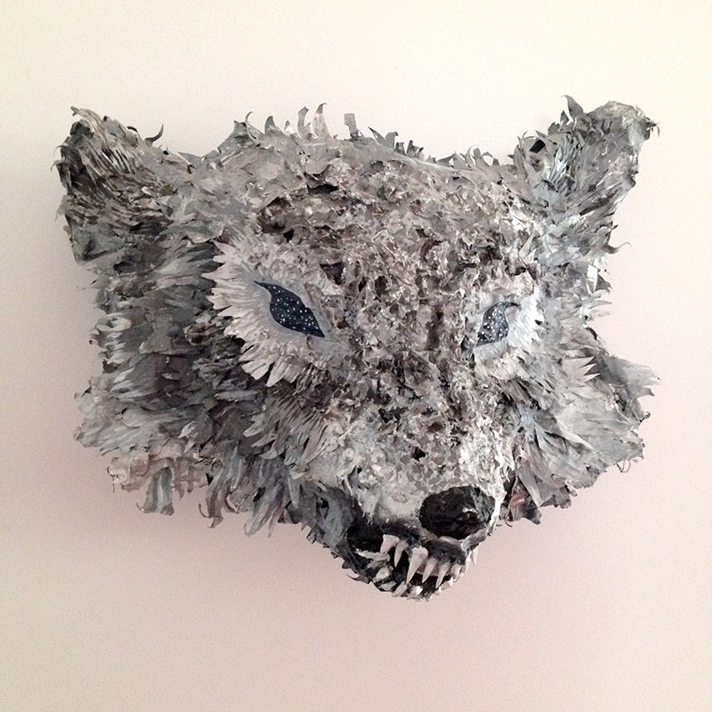 Starry Eyed Wolf, approx. 24in x 24in, paper mache, 2011